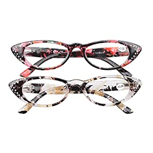 SOOLALA Ladies 50mm Lens Retro Fashion Designer Rhinestones Cat Eye Reading Glasses, RedYellow, +2.0