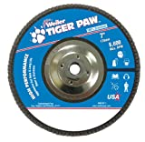 Weiler 51147 Tiger Paw High Performance Abrasive Flap Disc, Type 29 Angled Style, Phenolic Backing, Zirconia Alumina, 7'' Diameter, 5/8''-11 Arbor, 60 Grit, 8600 RPM (Pack of 10)