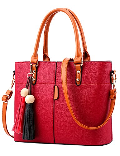 Menschwear Leather Tote Bag Glossy Pu New Ladies Sac à bandoulière Pink Red Wine
