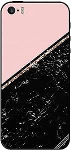 غطاء لجهاز ايفون 5 - رخام أسود & ذهبي
