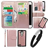 Wallet Case for LG G4, xhorizon TM FLK Premium Leather Folio Wallet Magnetic Detachable Removable Wristlet Purse Multiple Card Slots Cover for LG G4 with Wristband USB Cable