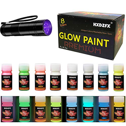 HXDZFX Glow in The Dark Paint UV Paint(8 Bottles 0.7oz Each + UV Lamp) Safe Non-Toxic for Slime,Nails,Epoxy Resin,Acrylic Paint,Halloween,Fine Art and DIY Crafts]()
