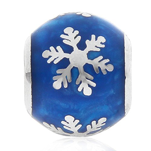 Glass Christmas Charms with 925 Sterling Silver Core Xmas Charm Snow Charm Snowflake Charms for Pandora Charms Bracelet (Blue)