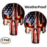 """Punisher Skull Decal American Flag for Trucks 6"""" x 4"""" (2 Pack) Window Motorcycle Laptop Car Army Navy Military Jeep Punisher Sticker Vinyl Bumper Reflective Helmet Red US Flag"""