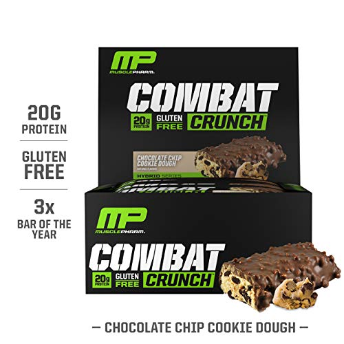 MusclePharm Combat Crunch Protein Bar, Multi-Layered Baked Bar, Gluten-Free Bars, 20 g Protein, Low-Sugar, Low-Carb, Gluten-Free, Chocolate Chip Cookie Dough Bars, 12 Servings (Best Muscle Pharm Combat Flavor)