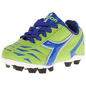 Diadora Capitano MD JR Soccer Shoe (Little Kid/Big Kid), Lime Green/Dark Royal, 3 M US Little Kid