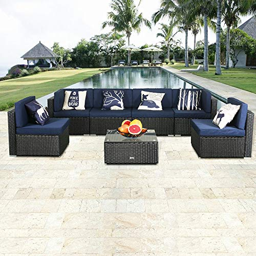 eclife Outdoor Rattan Sofa 7 PCS Set Patio PE Wicker Black Sofa Couch Furniture Set Removable Cushions W/ 6 Pillows and Tea Table (7PC Dark Blue)