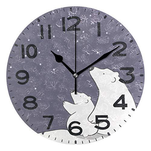 Bear Desk Clock (Naanle Cute Cartoon Polar Bear Mom and Baby Watching Stars Print Round Wall Clock Decorative, 9.5 Inch Battery Operated Quartz Analog Quiet Desk Clock for Home,Office,School)