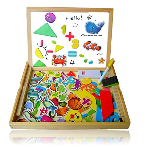 Wooden Toy Drawing Board for Kids: 100+ pcs Magnetic Puzzle, Reversible Travel Easel Whiteboard / Blackboard (Marine World)