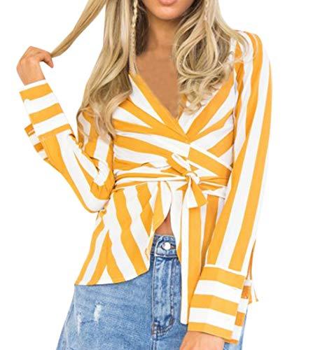 Camicie Tops Maglie Bende Maglietta Bluse a Moda con Donne Casual Simple Sottile Fashion Shirts Autunno e T Lunga Manica Giallo2 Stampa Primavera qwnpCIOp8