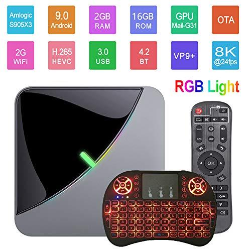 Android 9.0 TV Box A95X F3 Air 8K RGB Smart TV Box Light Amlogic S905X3 2GB 16GB 2.4G WiFi BT 4K 60fps Netflix YouTube Smart TV Dongle Media Player with Wireless Keyboard Remote (Backlit)
