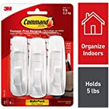 Command Utility Hooks, 3 hooks, 6 strips, Indoor Use, Organize Damage-Free (17003-3ES)