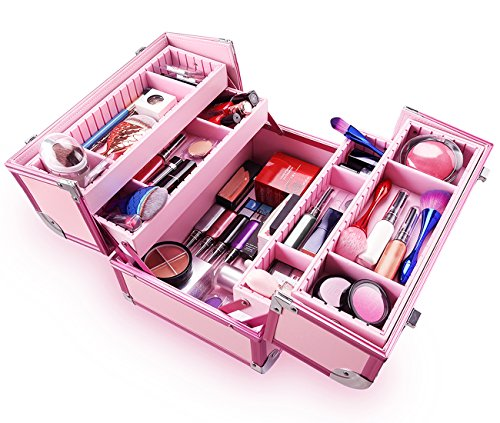 Ovonni Professional Portable Makeup Train Case, Artisit Lockable Aluminum Cosmetic Organizer Storage Box with Adjustable Dividers 4 Trays,Pink