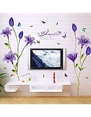 Muurtattoo woonkamer bloemenrank zwart grote kersen bloemen tak