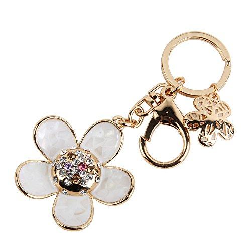 niceeshop(TM) Fashion Daisy Petal Shape Alloy Keychain Rhinestone Key Ring(White&Gold)