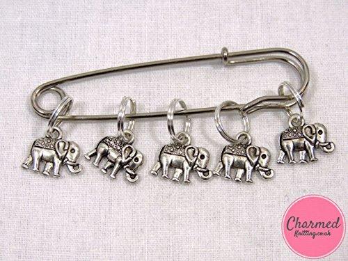 Elephant Stitch (Baby Elephants - 5 Silver Knitting Stitch Markers)