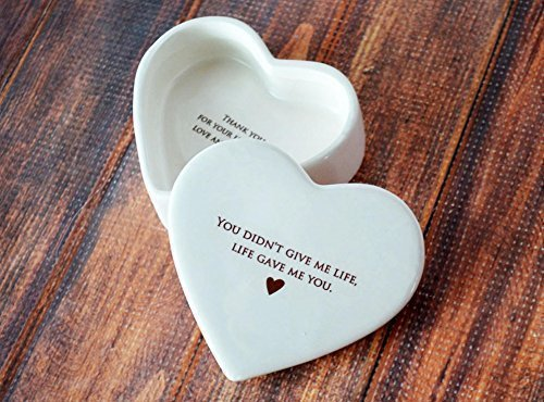 Stepmother of the Bride Gift, Stepmother of the Groom Gift, Stepmom Gift - Heart Keepsake Box - You didn't give me life, life gave me you (Best Gifts For Stepmothers)