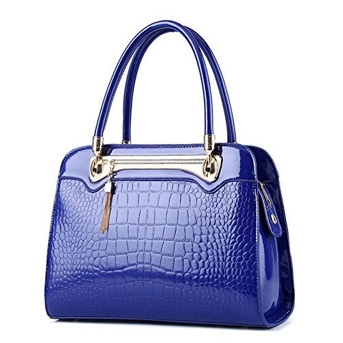 RUIREN Fashion Crocodile pattern Bolso Messenger Shoulder Bag Handbag Portable Shoulder Bag Azul
