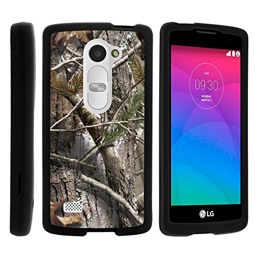 (LG Sunset L33L Case, Perfect Fit Cell Phone Case Hard Cover with Cute Design Patterns for LG Leon C40, H340N, Tribute 2, Power L22C, Destiny L21G, Sunset L33L (T Mobile, Metro PCS, Boost Mobile, Straight Talk, Tracfone) from MINITURTLE | Includes Clear Screen Protector and Stylus Pen - Tree Bark Hunter Camouflage)