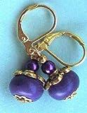 Purple Howlite Roundel & Glass Pearl Earring Gp Leverback Handcrafted Rhinestone Earrings For Women Set