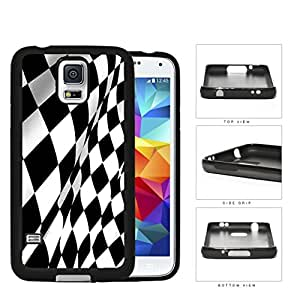 Black And White Checkered Racing Flag Rubber Silicone TPU Cell Phone Case Samsung Galaxy S5 SM-G900
