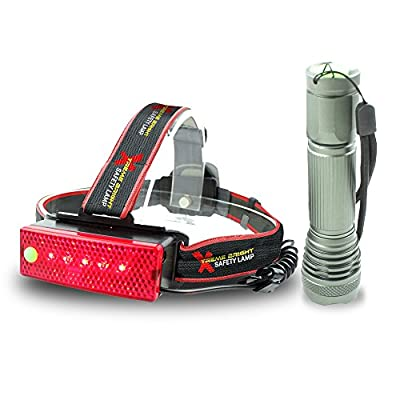 Xtreme Bright Safety Headlamp, Red Flashing Light on Back. Perfect Automotive Spot Light, Great Addition To Camping & Hiking Equipment. Ideal Reliable LED Flashlight Or Portable Work Light - 100% Lifetime Guarantee
