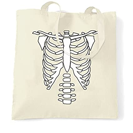 Canvas Tote Bag Skeleton Chest Costume Halloween Party Cool Design Bones Creepy  Scary Spooky Trick Or 67ee36fdb