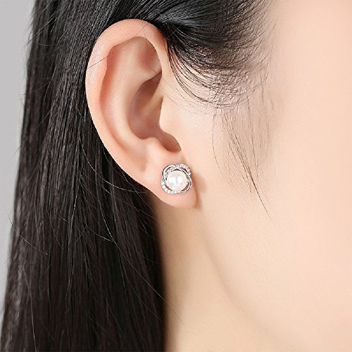 Sterling Silver Freshwater Cultured Pearl and Cubic Zirconia Spiral stud Earrings by Lam Sence (Image #1)