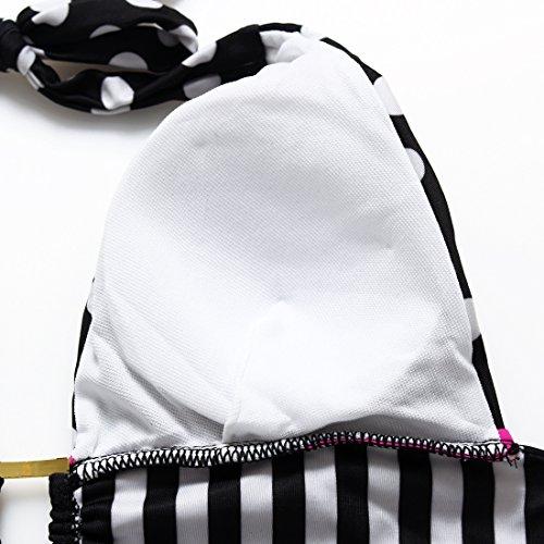 Erica Bikinis Halter playa de las mujeres de dos piezas Set Swimsuit Polka Dots Vintage sujetador acolchado sin hilos #1