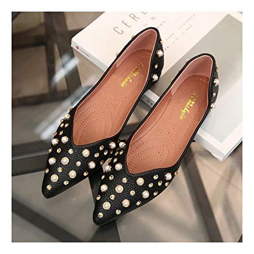 Zapatos Bajos Tacones Bean Sharp Joker Negro Superficial Zapatos Planos Pie WULIFANG 33 Gamuza Moda Negro wxBSfWqXA