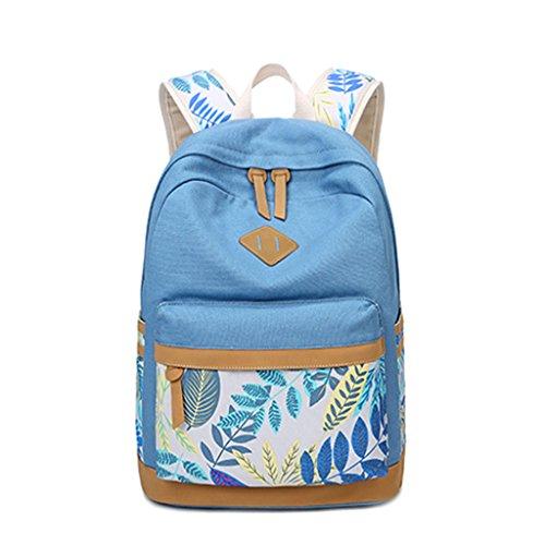 Zaino Bookbags, borsa a spalla da viaggio KofunBorsa a tracolla College School in canvas con stampa foglia donna Cielo Blu