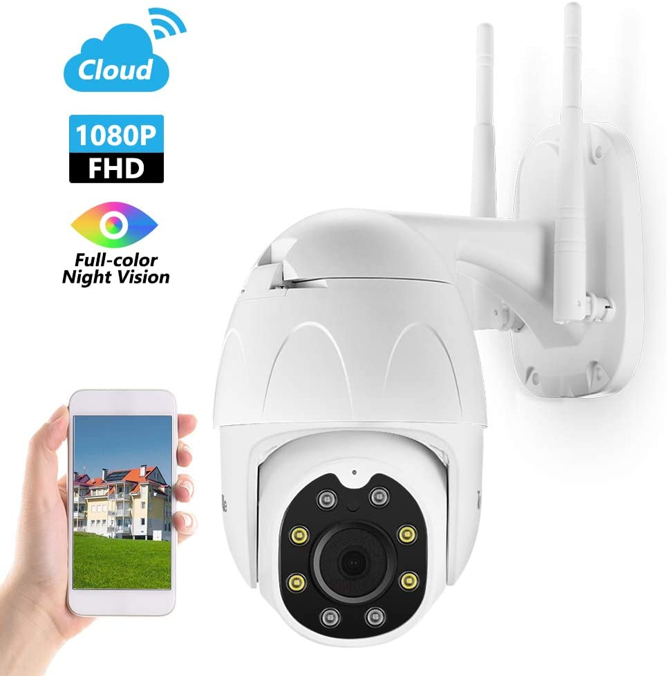 TourAlle Outdoor Security Camera, 1080P HD WiFi Home Surveillance Camera with Phone App, Pan/Tilt/Zoom, Night Vision, IP66 Waterproof, 2Way Audio, Motion Detection, Cloud Storage, Works with Alexa