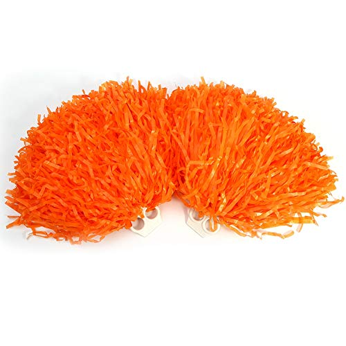 Alomejor Cheerleading Pom Poms 8 Colors 2pcs Sports Dance Cheer Plastic Pom Pom for Sports Team Spirit Cheering(Orange) (Orange Cheerleader Pom Poms)