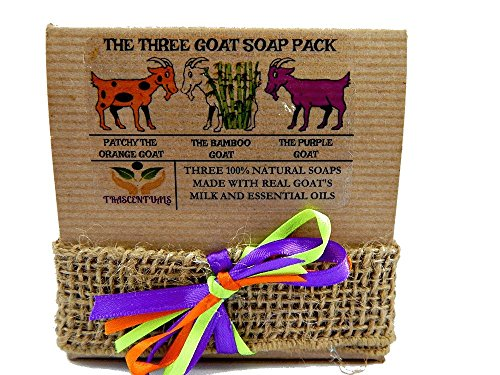 Goats Milk Hemp (Goat Milk Soap Gift Set 3 All Natural Soaps in 1 Gift-able Box W/ Ribbon and Bow Includes Lavender, Bamboo Charcoal, and Patchouli Oil Soaps (Single 3 Pack))