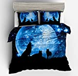 Jwllking Wolf Bedding Sets for Kids,3 Piece Twin Size Duvet Cover Set,With hide Zipper,1 Duvet Cover+2 Pillow Shams