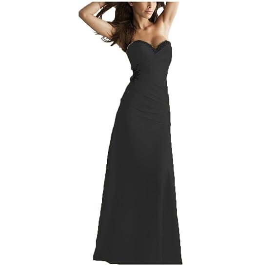 Vogue Tribe Sweetheart Beaded Chiffon Bridesmaid Long Prom Dresses Black Size 2