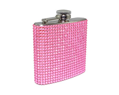 Bling Rhinestone Diamond 6oz Flask (Pink)