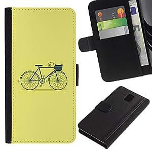 SAMSUNG Galaxy Note 3 III / N9000 / N9005 Modelo colorido cuero carpeta tirón caso cubierta piel Holster Funda protección - Yellow Green Hipster Green