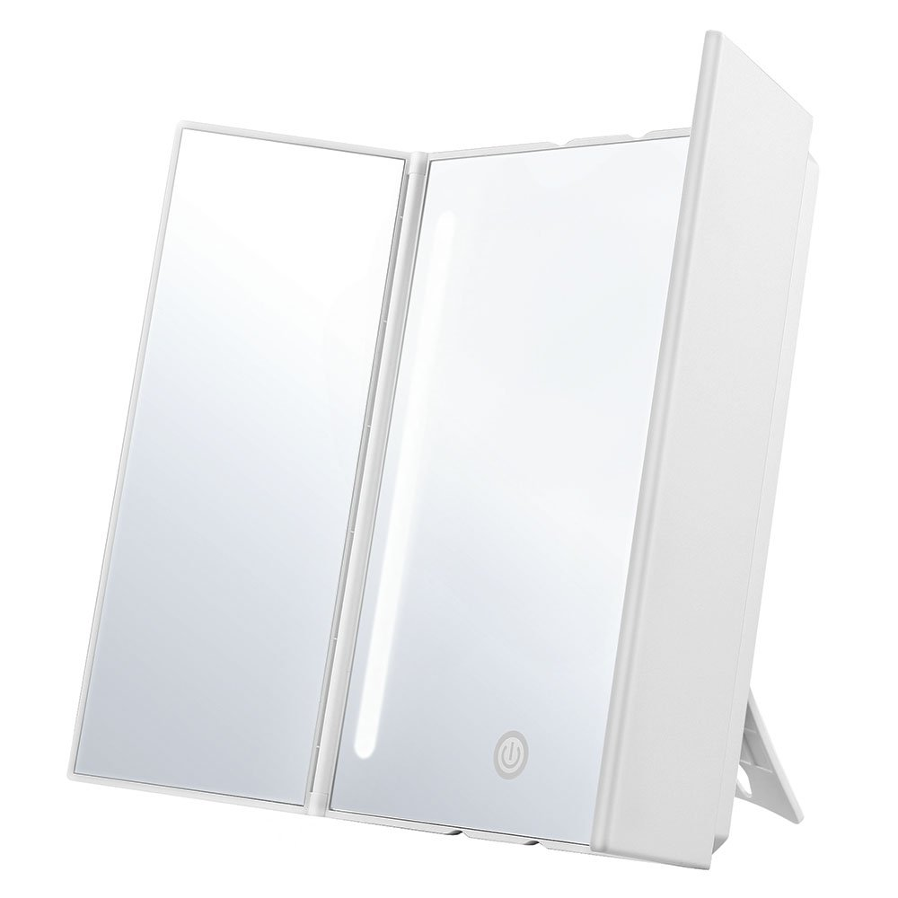 Jerrybox Makeup Vanity Mirror with LED Lights Trifold Cosmetic Mirror with Touch Screen, Dual Power Supply,180° Rotation