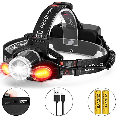 Rechargeable LED headlamp, Zukvye Super Bright LED Headlight Flashlight 6000 Lumen Zoomable Waterproof Red for Cycling, Running, Dog Walking, Camping, Hiking, Fishing, Night Reading and DIY Works