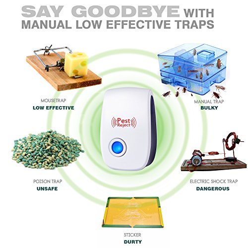 iHomy Ultrasonic Pest Repeller [4-Pack] , Plug in Repellent Indoor for Mosquitoes, Mice, Ants, Rats, Roaches, Spiders, Bugs, Flies, Rodents - Eco-Friendly, Human & Pet Safe Pest Warrior