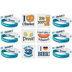 144 PC - Oktoberfest Party Pack - 72- Oktoberfest Bracelets and 72 - Oktoberfest Tattoos- Bulk Oktoberfest Party Supplies