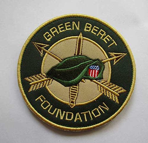 Green Beret Foundation Military Patch Fabric Embroidered Badges Patch Tactical Stickers with Hook & Loop