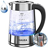 HAUEA 1500W Electric Glass Kettle 1.8L BPA-Free Electric Tea Kettle with Adjustable Temperatures, 1-24H Keep Warm & Auto Shut Off, Fast Boiling Water Kettle with Blue Light