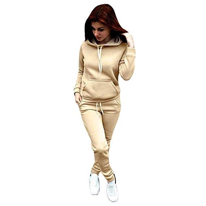 c5aa923df Formesy Donna 2 Pezzi Tuta da Ginnastica, Manica Lunga Camicetta e Pantaloni  Lungo Moda Tuta