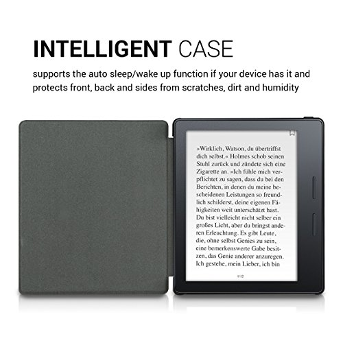 kwmobile Case for Amazon Kindle Oasis 8th Generation (2016) - Book Style PU Leather Protective e-Reader Cover Folio Case - White Black by kwmobile (Image #4)