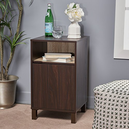 Miya Single Shelf Walnut Finished Faux Wood Cabinet with Sanremo Oak Interior by Great Deal Furniture