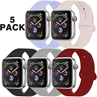GZ GZHISY Pack 5 Sport Bands Compatible for Apple Watch Band 38mm 40mm, Soft Silicone Band Sport Strap Compatible for iWatch Series 5/4/3/2/1 (Lilac/Pinksand/Black/Concrete/Wine Red, S/M)