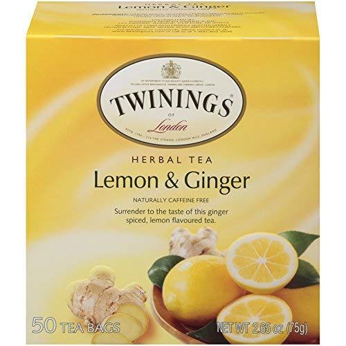 Twinings of London Lemon & Ginger Herbal Tea Bags, 50 Count