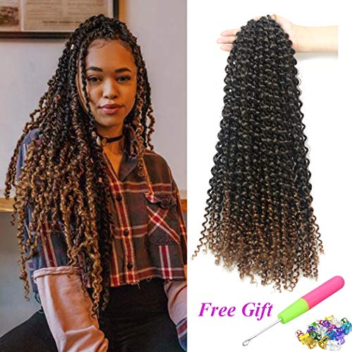 (7 Packs Passion Twist Hair 18 Inch Water Wave Synthetic Braids for Passion Twist Crochet Braiding Hair Goddess Locs Long Bohemian Locs Hair (22Strands/Pack, T30#))